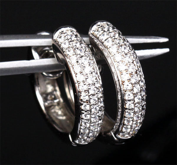 Natural Diamond Earrings in Solid 14k White Gold - Pave H/SI .67ctw Diamonds Fashion Hoop Earrings - Lord of Gem Rings - 1