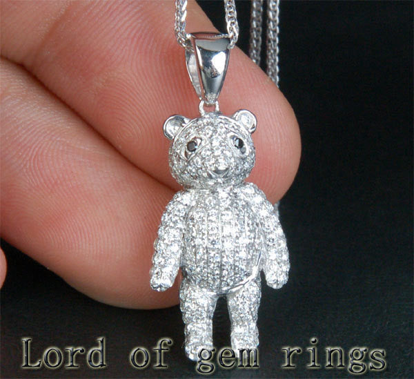 Teddy Bear 1.22ctw Diamonds Solid 14k White Gold Pendant For Necklace - Lord of Gem Rings - 1