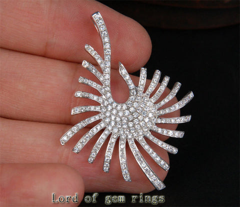 Heavy Unique Star 1.88ctw Diamonds Solid 18k White Gold Pendant For Necklace - Lord of Gem Rings - 1