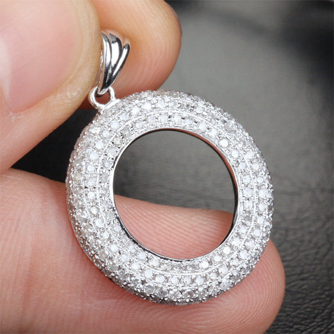 Round Pave Brilliant .95ct Diamonds Solid 14k White Gold Pendant For Necklace - Lord of Gem Rings - 1