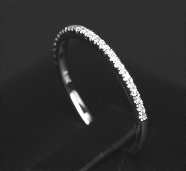 Pave Diamond Wedding Band Half Eternity Anniversary Ring 14k White Gold 0.15ct SI H - Thin Design - Lord of Gem Rings - 1