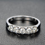 Ready to Ship - 5 Stone Moissanite Wedding Band Anniversary Ring 14K White Gold - Lord of Gem Rings - 1