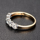 Moissanite Wedding Band Anniversary Ring 14K Two Tone Gold 5 Stones 3.5mm Round - Lord of Gem Rings - 3