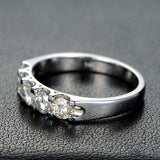Ready to Ship - 5 Stone Moissanite Wedding Band Anniversary Ring 14K White Gold - Lord of Gem Rings - 3