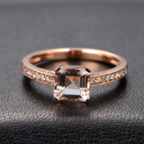 Asscher Morganite Engagement Ring Sets Pave Diamond Wedding 14K Rose Gold 6.5mm - Lord of Gem Rings - 3