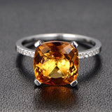 Cushion Citrine Engagement Ring Sets Pave Diamond Wedding 14K White Gold 10mm - Lord of Gem Rings - 3