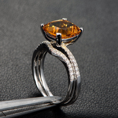 Cushion Citrine Engagement Ring Sets Pave Diamond Wedding 14K White Gold 10mm - Lord of Gem Rings - 1