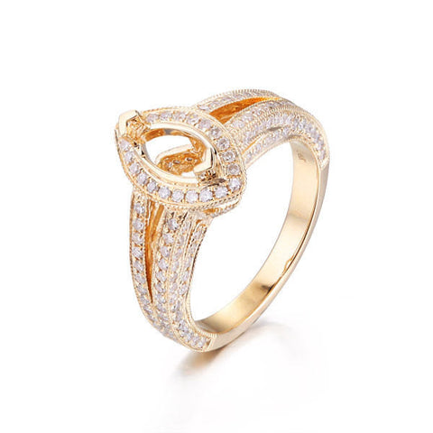 Diamond Engagement Semi Mount Ring Sets 14K Yellow Gold Setting Marquise 5x10mm - Lord of Gem Rings - 1