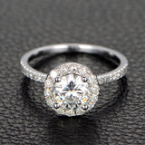 Round  Moissanite Engagement Ring Pave Moissanite Wedding 14K White Gold 6.5mm - Lord of Gem Rings - 2
