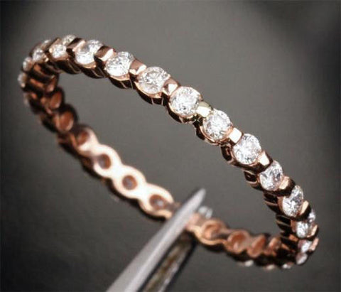 Moissanite Wedding Band Full Eternity Anniversary Ring 14K Rose Gold Shared Prongs - Lord of Gem Rings - 1