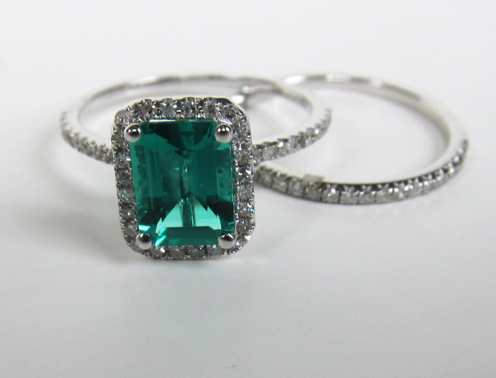 575 Emerald Cut Emerald Engagement Ring Sets 14K White Gold Lord