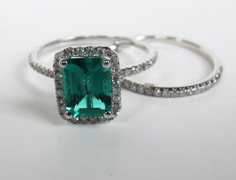 Emerald Shape Emerald Engagement Ring Sets Pave Diamond Wedding 14K White Gold 6x8mm - Lord of Gem Rings - 1