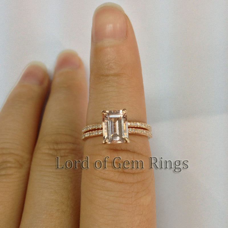 Reserved for  Danielle, 5x7mm Emerald cut Moranite Ring and Matching Band - Lord of Gem Rings - 1