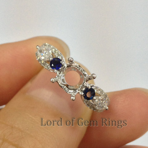 Three stones 6.5mm Round Cut Sapphire diamonds Semi Mount 14k white Gold - Lord of Gem Rings - 1