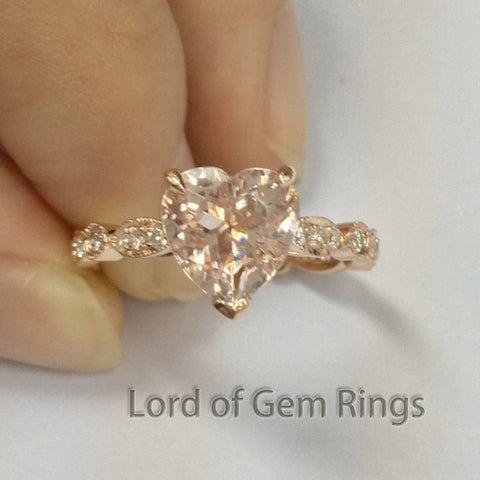 Heart Morganite Engagement Ring Pave Diamond Wedding 14K Rose Gold 8mm Art Deco - Lord of Gem Rings - 2