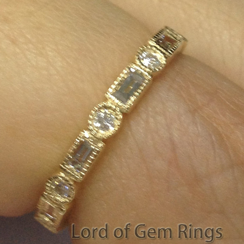 Reserved for ehczarny,Baguette & Round Diamond Wedding Ring,14K Yellow Gold,Size10.75 - Lord of Gem Rings - 1