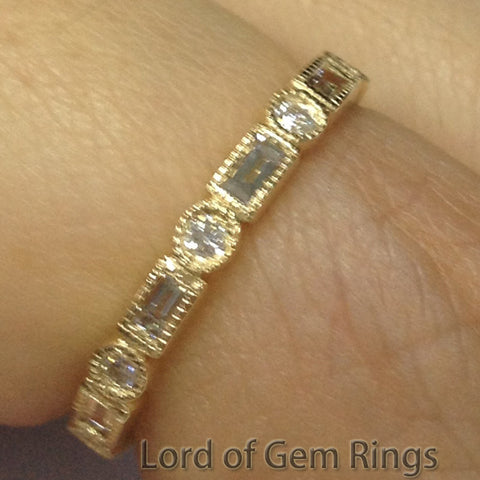 Baguette/Round Diamond Wedding Band Eternity Anniversary Ring 14K Yellow Gold  Art Deco Milgrain - Lord of Gem Rings - 1
