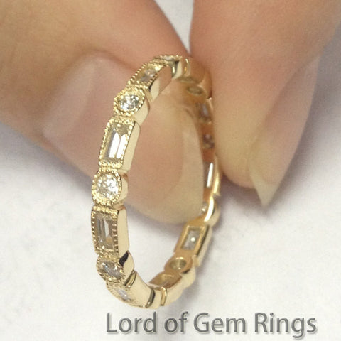 Baguette/Round Diamond Wedding Band Eternity Anniversary Ring 14K Yellow Gold  Art Deco Milgrain - Lord of Gem Rings - 5