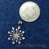 Gorgeous Cluster Flower Solitaire with Accent Round Full Cut Diamonds Geogious pendant for  necklace,14K White Gold - Lord of Gem Rings - 4