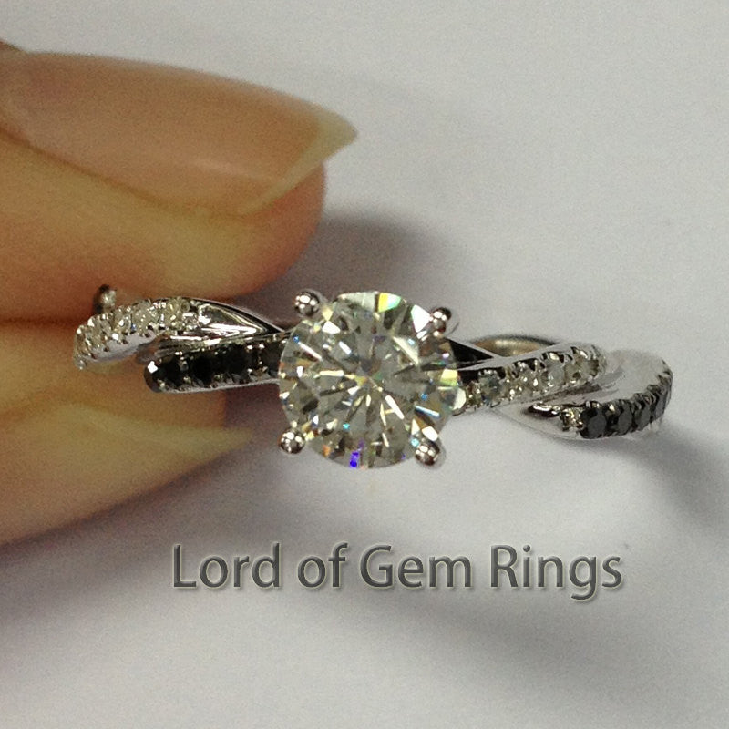 Ready to Ship- moissanite Engagement Ring with Black & Clear Diamonds 14K White Gold - Lord of Gem Rings - 1