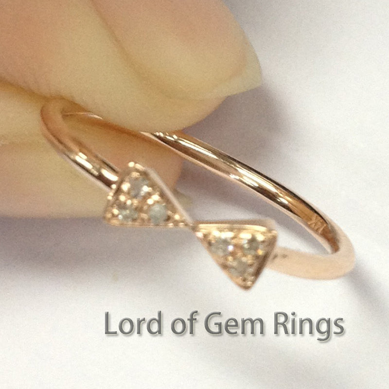 Bowknot Diamonds Eternity Wedding Matching Band Ring,14K Rose Gold Anniversary ring - Lord of Gem Rings - 1
