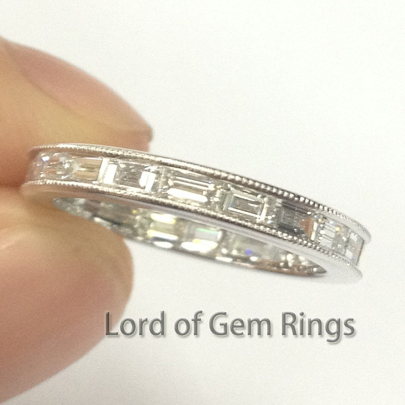 Milgrain Baguette VS Diamonds Eternity Wedding Matching Band Ring,14K White Gold lady women's Anniversary ring - Lord of Gem Rings - 1