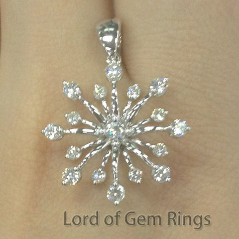 Gorgeous Cluster Flower Solitaire with Accent Round Full Cut Diamonds Geogious pendant for  necklace,14K White Gold - Lord of Gem Rings - 1