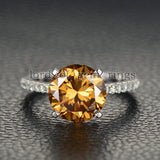 Round Yellow Moissanite Engagement cathedral Ring 14K White Gold 10mm - Lord of Gem Rings - 2
