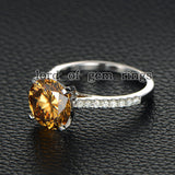Round Yellow Moissanite Engagement cathedral Ring 14K White Gold 10mm - Lord of Gem Rings - 3