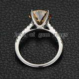 Round Yellow Moissanite Engagement cathedral Ring 14K White Gold 10mm - Lord of Gem Rings - 4