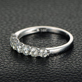 Moissanite Engagement Ring Anniversary Ring 14K White Gold 7 Stones 3.5mm Round - Lord of Gem Rings - 3