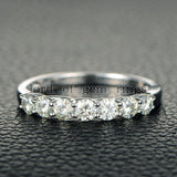 Ready to Ship -7 Stone Moissanite Engagement Ring Anniversary Ring 14K White Gold 3.5mm Round - Lord of Gem Rings - 5