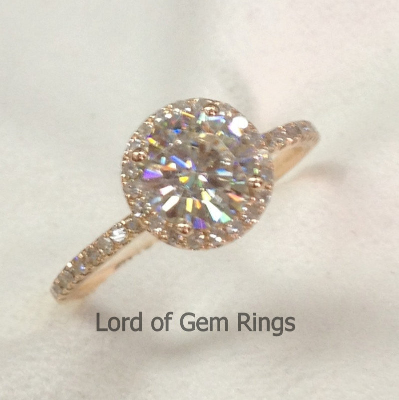 Round Moissanite Engagement Ring Pave Diamond Wedding 14K Rose Gold 6.5mm - Lord of Gem Rings - 5