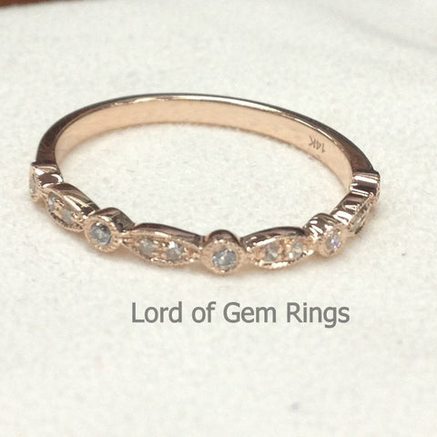 Pave Diamond Wedding Band Half Eternity Anniversary Ring 14K Rose Gold - SI/H Diamond Art Deco Milgrain - Lord of Gem Rings - 1
