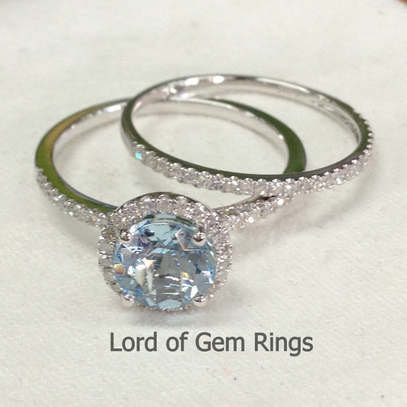 Round Aquamarine Engagement Ring Sets Pave Diamond Wedding 14K White Gold 7mm - Lord of Gem Rings - 1
