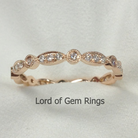 Pave Diamond Wedding Band Eternity Anniversary Ring 14K Rose Gold Art Deco Milgrain - SI/H - Lord of Gem Rings - 1