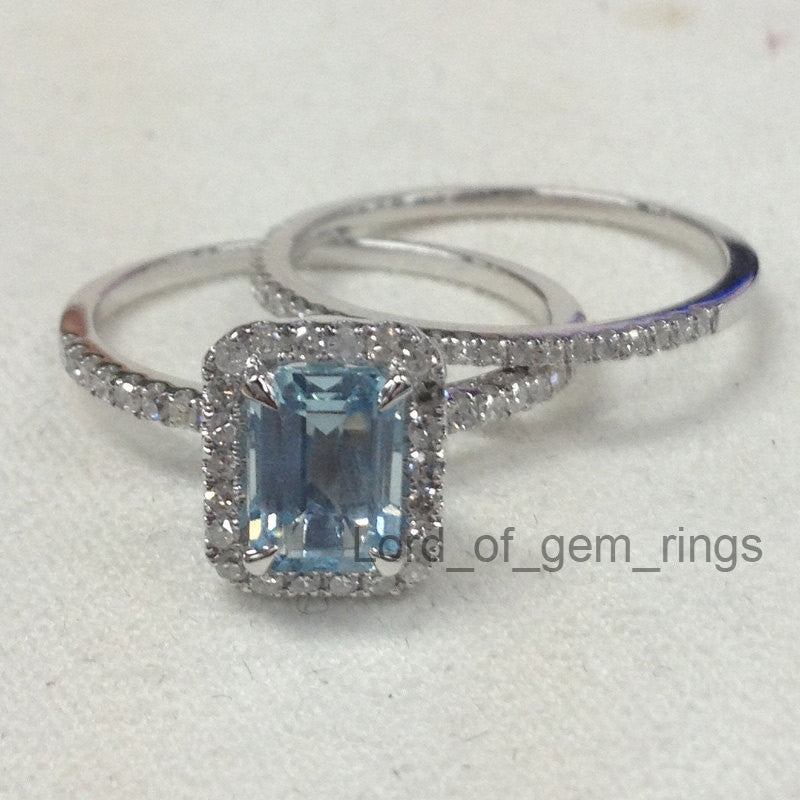 Reserved for  jessicalynnjones8889, Aquamarine Engagement Diamond Ring Set, 3rd payment - Lord of Gem Rings - 1