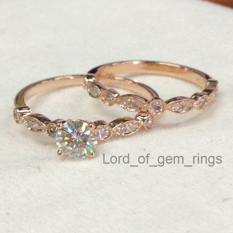 Reserved for Dylan  2nd payment, Round Moissanite Engagement Ring Bridal Set - Lord of Gem Rings - 1