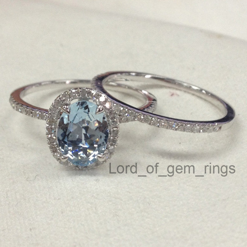 Oval Aquamarine Engagement Ring Sets Pave Diamond Wedding 14K White Gold 6x8mm - Lord of Gem Rings - 1