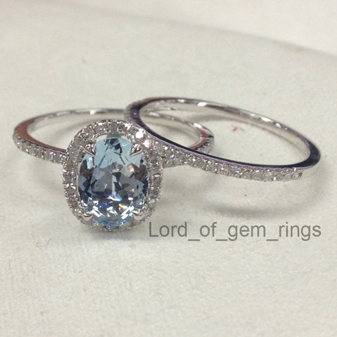 Ready to Ship: Oval Aquamarine Engagement Ring Set Pave Diamond Wedding 14K White Gold 6x8mm: 14KW-OvalAqua - Lord of Gem Rings - 1