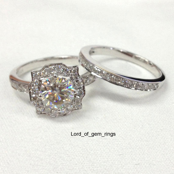 For newwlsn, Size 6.5, 14K White gold VS H Damonds 7mm Round Setting & Matching Band - Lord of Gem Rings - 1