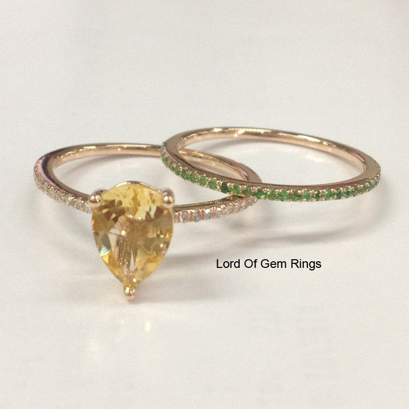 Pear Citrine Diamond Engagement Ring Sets Pave Tsavorite Wedding Band 14K Rose Gold 5x7mm - Lord of Gem Rings - 1