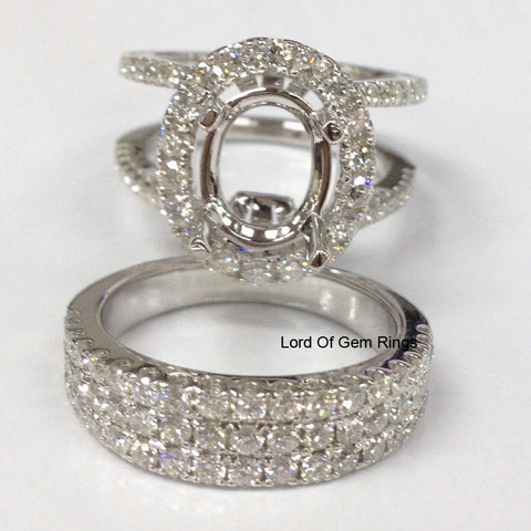 Diamond Engagement Semi Mount Ring Sets 18K White Gold Setting Oval 8x10mm Brilliant - Lord of Gem Rings - 1