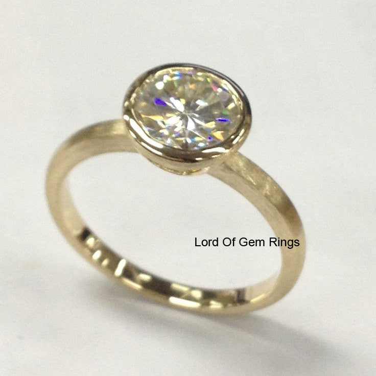 Round Moissanite Engagement Ring 14K Yellow Gold 7mm Bezel Set - Lord of Gem Rings - 1