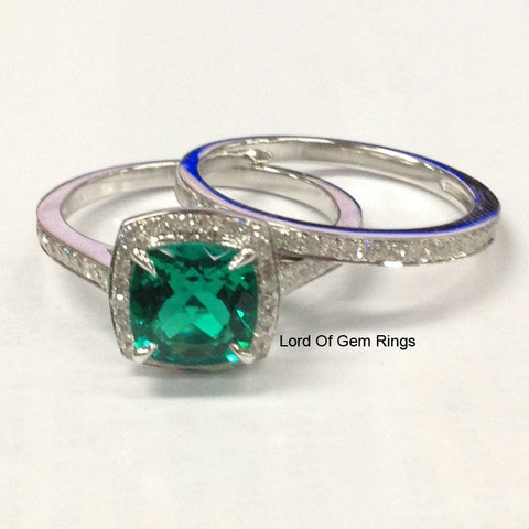 Cushion Emerald Engagement Ring Sets Pave Diamonds Wedding 14K White Gold,8x8mm Claw Prongs - Lord of Gem Rings - 1