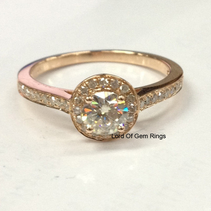 Round Moissanite Engagement Ring Pave Diamond Wedding 14K Rose Gold 5mm - Lord of Gem Rings - 1