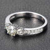 Round Moissanite Engagement Ring Pave Moissanite Wedding 14K White Gold 6.5mm - Lord of Gem Rings - 3
