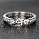 Round Moissanite Engagement Ring Pave Moissanite Wedding 14K White Gold 6.5mm - Lord of Gem Rings - 4