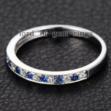 Moissanite Sapphire Wedding Band Half Eternity Anniversary Ring 14K White Gold Milgrain - Lord of Gem Rings - 3