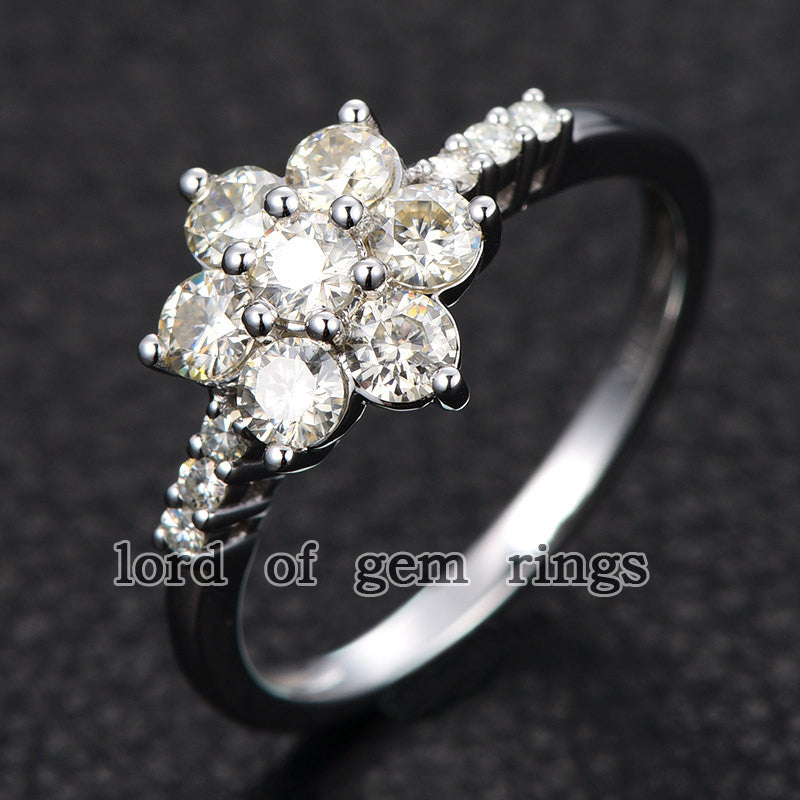 Moissanite Engagement Ring 14K White Gold 3mm & 1.5mm Round  Snow Flower Snowflake - Lord of Gem Rings - 1